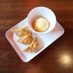 Salted Caramel Gyoza with Vanilla Ice Cream